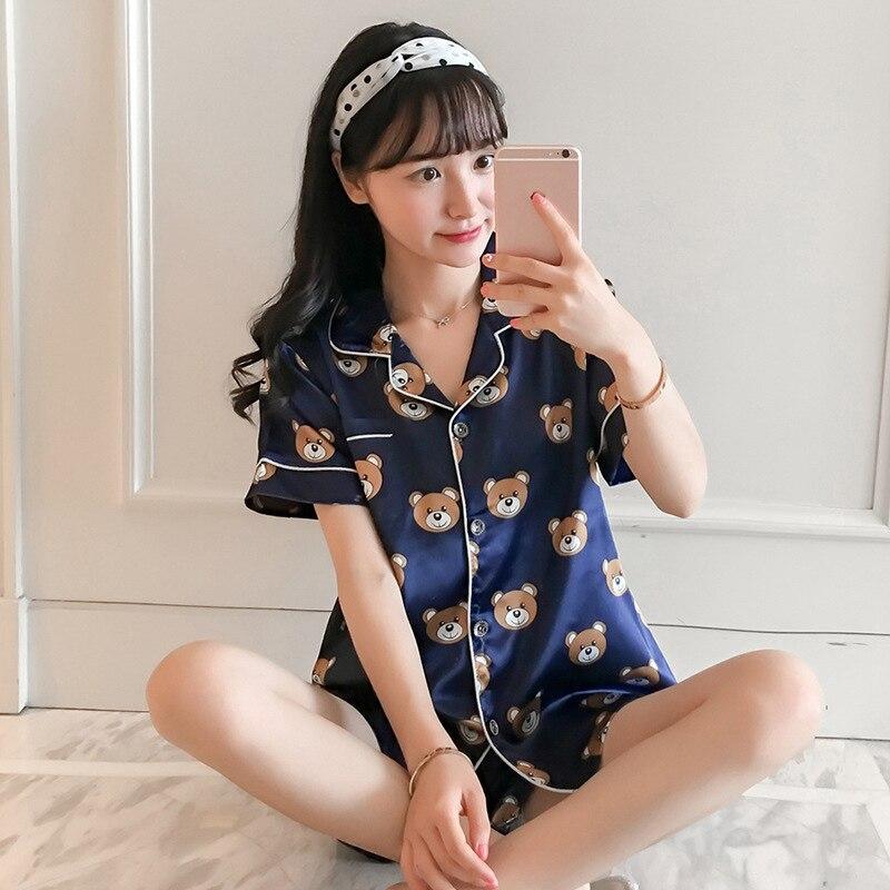Two Piece Set Print Silk Stain Women Pajamas Short Sleeve Shirt Sweet Lovely Female Home Suit  Summer Plus Size Woman Pajama Set