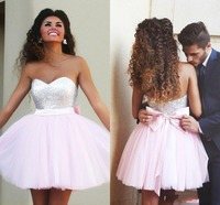 DAP3222 New Arrival Short Pink Sequined Top Sweetheart Short With Cute Bow Sash Back Prom Dress