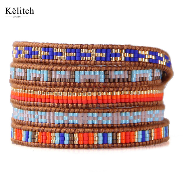 Kelitch Bohemia Granos de la Semilla de Verano Mujeres Pulseras Multilayers Colorido Broche De Plata de Cuero Hecha A Mano Brazalete Pulsera Para Los Regalos