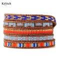 Kelitch Missangas Bohemia Verão Mulheres Pulseiras Multilayers Colorido de Couro Fecho de Prata Handmade Cuff Pulseira Para Presentes