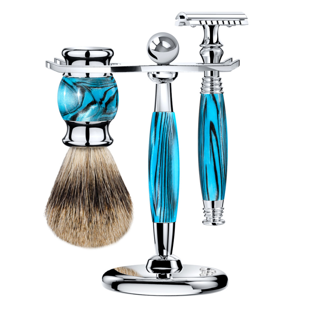 ZY Man Safety Shaving Razor Set Double Edge Open Razors Long Handle + Shaving Brush Best Badger Hair+Stand Holder Wet Shave grandslam 3pcs set man double edge safety razor shaving razor set long handle badger shaving brush stand holder wet shave tool