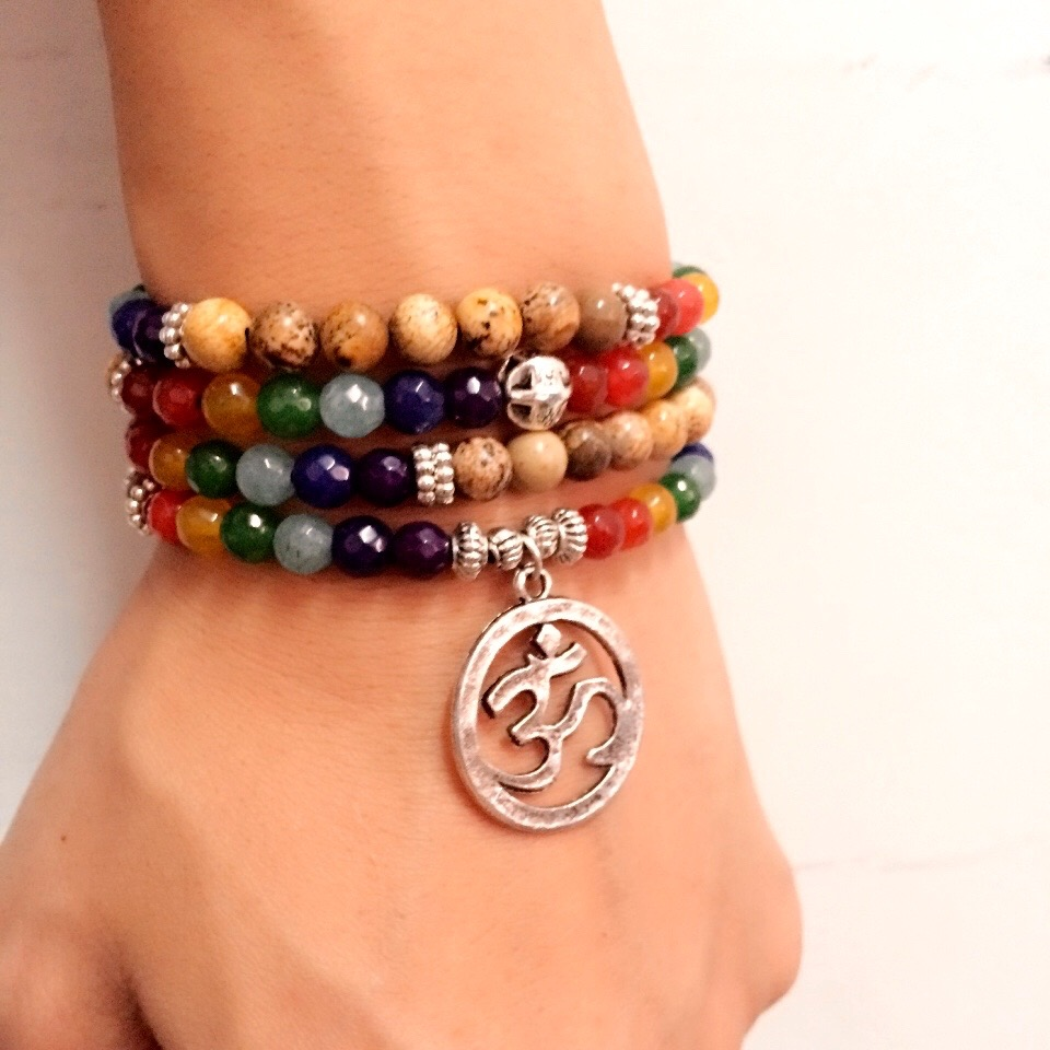 7 Chakra Healing Balance Bracelet Picture Stone Gem Yoga Reiki Prayer Stone Charms 108 Bead Bracelet Multilayer Bangle Women Men