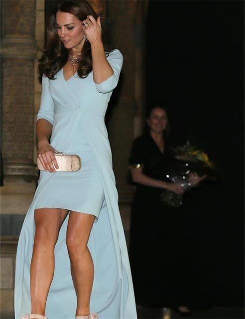2016 Kate Middleton Long Evening Dress V Neck Half Pleat Chiffon ...