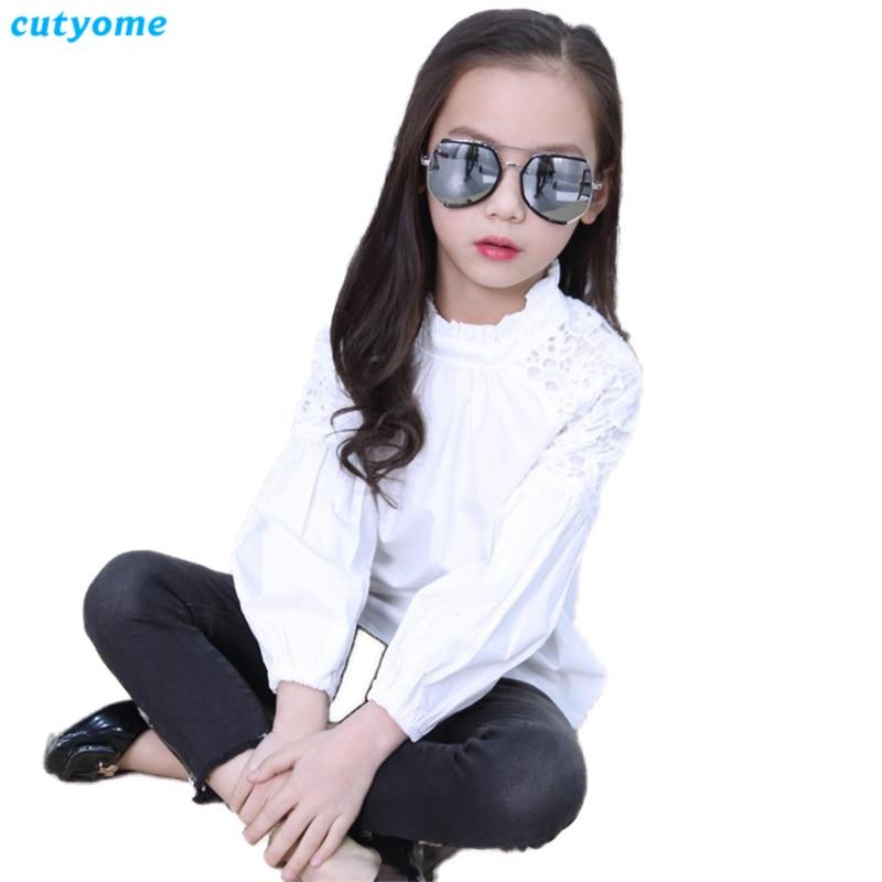 Biały Puff Rękaw Bluzki dla dziewczynek Cutyome Długi rękaw - Ubrania dziecięce - Zdjęcie 3