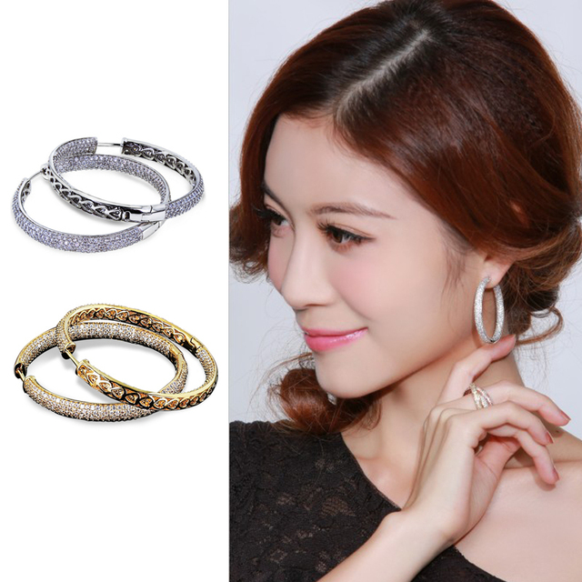 New Look 2014 Classic Big Hoop Earringss AAA Cubic Zircon Micro Pave Setting Wedding Party Earings For woman Lead Free