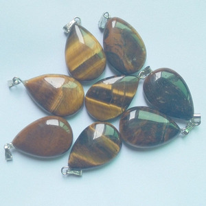 Image 2 - 2018 fashion natural tiger eye stone water drop charms pendants fit Necklaces making 50pcs/lot wholesale Free shipping