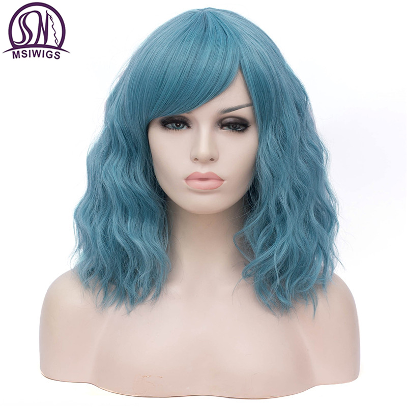 MSIWIGS Synthetic Short Wigs For Women Curly Hair Ashy Blue Wig With Bangs Green Natural Hair Heat Resistant