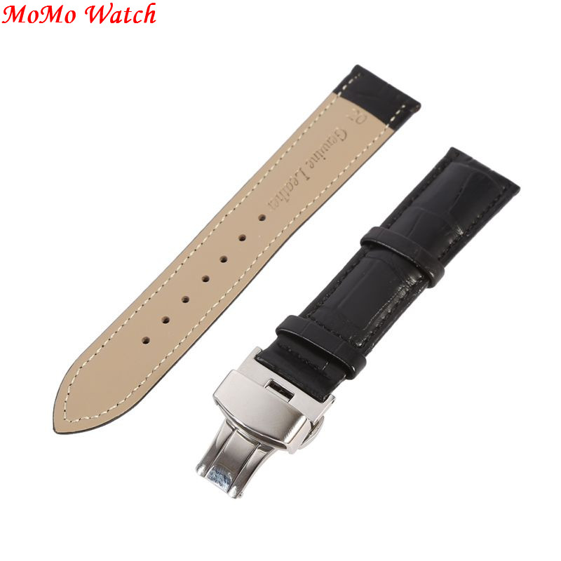 New Butterfly buckle Watchband Genuine Leather Black Coffee  Watch Band 16mm 18mm 20mm 22mm 24mm Watch Strap new mens genuine leather watch strap bands bracelets black alligator leather 18mm 19mm 20mm 21mm 22mm 24mm without buckle