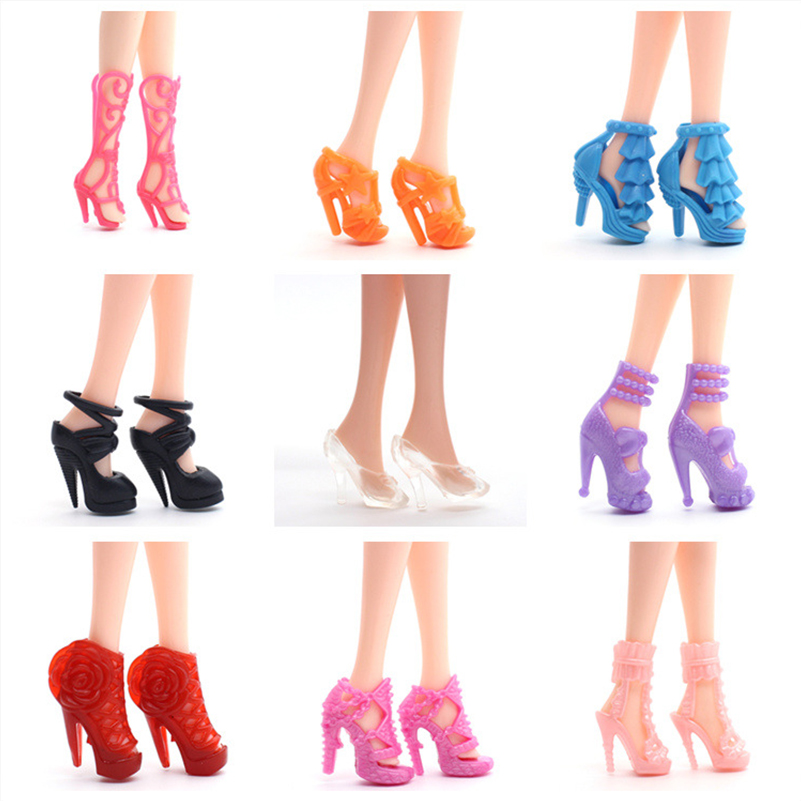 10 Pairs Shoes For 30cm Dolls Accessories Plastic Mixed Styles 1/6 Doll Shoes For Women Doll Toys For Girls Gifts