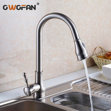 Kitchen Faucet Brass Brushed Nickel High Arch  Sink Faucet Kitchen Pull Out Rotation Spray Mixer Tap  Grifo Cocina OWO-9101