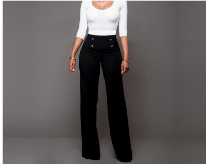 Fedex 50pcs Summer High Waist Flare Pants Plus Size Women Trousers Female Office Lady Casual Wide Leg Pants Stretch Long Pant