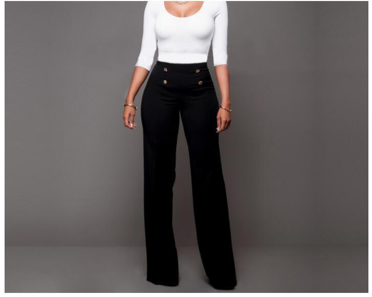 Fedex 50pcs Summer High Waist Flare   Pants   Plus Size Women Trousers Female Office Lady Casual   Wide     Leg     Pants   Stretch Long   Pant