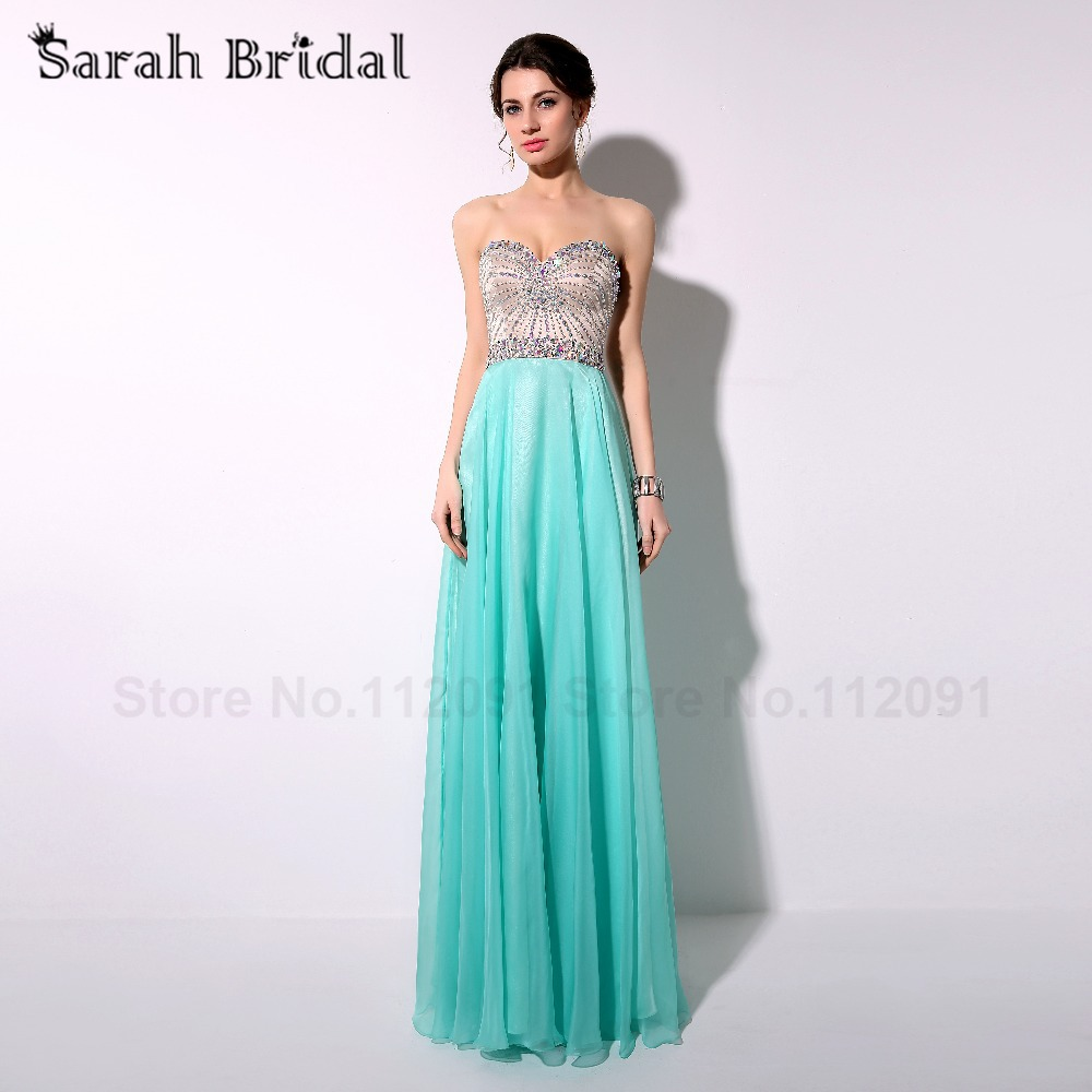 Fashionable Aqua 30D Chiffon Prom Dresses Long 2017 Hot Sale Beading ...