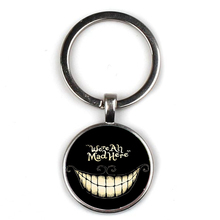 Popular fairy tale Alice in Wonderland pattern keyring Cheshire Cat Pendant Keychain car key We are crazy children favorite gift