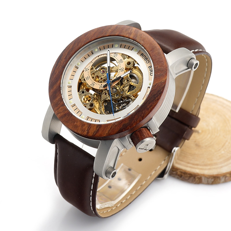 BOBO BIRD Brand Men Watches Red Wooden Gear Mechanical Watch Genuine Leather Strap Wristwatch relogio masculino