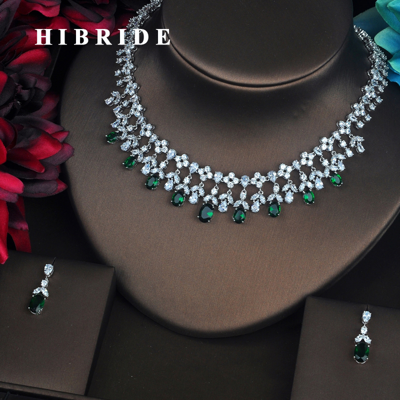 HIBRIDE Luxury Green Water Drop Cubic Zirconia Jewelry Sets For Women Bride Necklace Set Wedding Accessories Wholesale N-422 hibride luxury top quality white green water drop shape cubic zirconia jewelry sets white gold color necklace earrings n 057