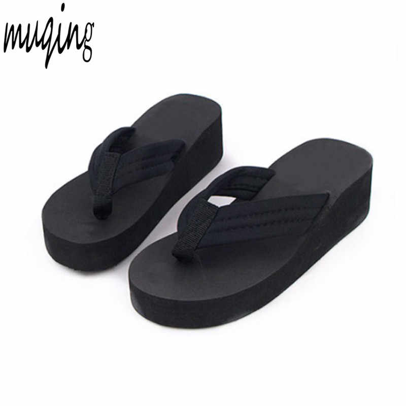 48e241259f8 Fashion Clip Toes Flip Flops Womens Wedge Sandals Summer Sandals Casual  Beach Slippers Waterproof Platform Wedges