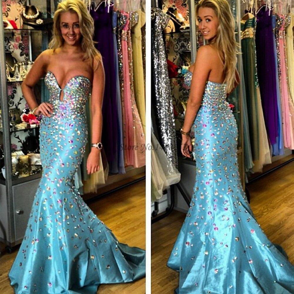 Vestido Para Formatura Luxury Crystals Mermaid   Prom     Dresses   Long Formal Evening Gowns Taffeta Galajurken Turquoise Party   Dress