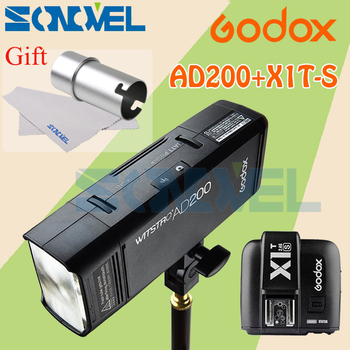 GODOX AD200 TTL 2.4G HSS 1/8000s Pocket Flash Light Double Head 200Ws with 2900mAh Lithium Battery+X1T-S Transmitter For Sony