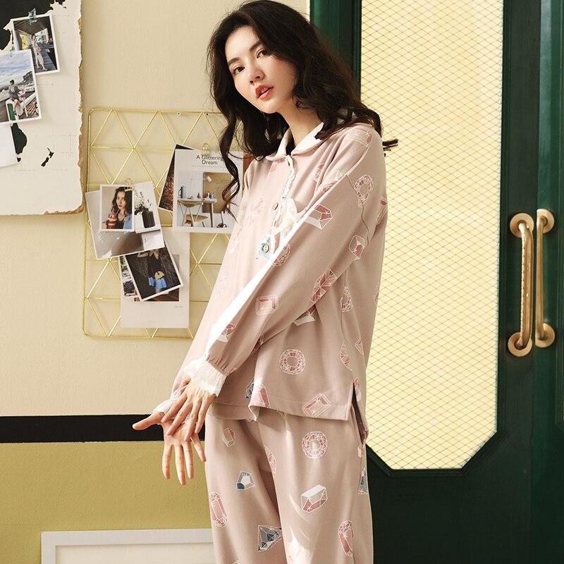 d2e298a79a88 Otoño Invierno algodón caliente encaje pijama mujer establece manga larga Turn  down Collar femenino cómodo suave Pijamas en Conjuntos de pijamas de Ropa  ...