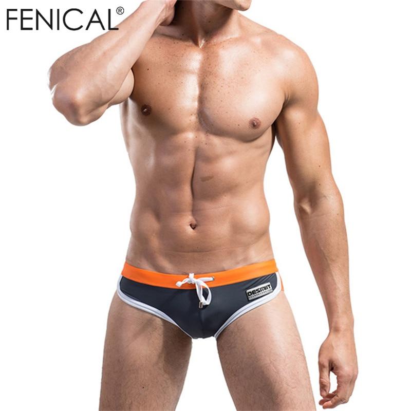FENIKAI Férfi háromszög fürdőruha Fehérnemű Férfi fürdőruhák Patchwork Color Beachwear szexi rövidnadrág kiváló minőségű rövidnadrág