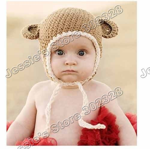 Cute Baby Infant Monkey Design Hat Knitted Handmade Cap 3 Size
