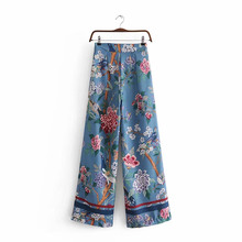 NiceMix 2019 Vintage chic elegant women bohemian birds print wide leg pants casual loose rayon Boho long oversize