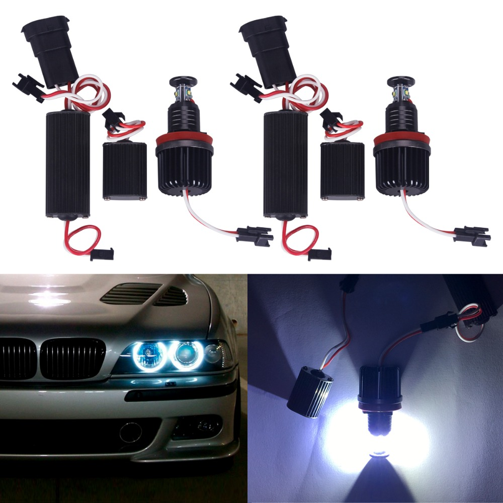 2pcs/lot car-styling Day Lihgt 20W 7000K H8 LED Angel Eyes Ring Marker Light Bulbs For BMW 1 3 5 X Series Fog Headlight