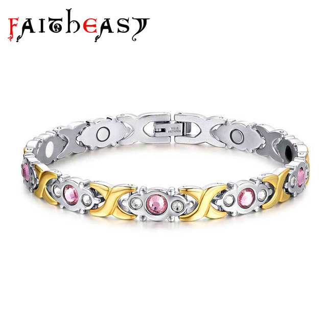 Faitheasy Stainless Steel Fashion Jewelry Magnet Charm Bracelet Silver Gold Color Magnetic Bangles For Women Accessories