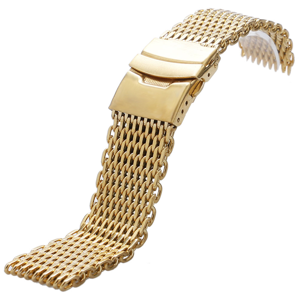 Golden Band 18mm 20mm 22mm 24mm Soft Mesh Solid Stainless Steel Watchstrap Watches Replacement Fold over clasp + 2 Spring BarsGolden Band 18mm 20mm 22mm 24mm Soft Mesh Solid Stainless Steel Watchstrap Watches Replacement Fold over clasp + 2 Spring Bars