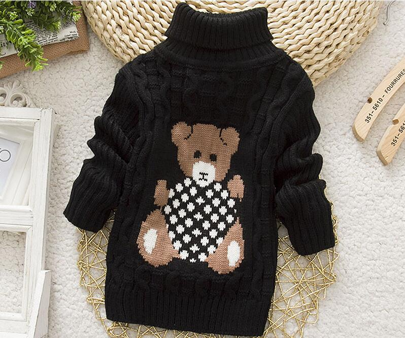 2018 Winter Girls Warm Sweaters Boys Thick Knitted Turtleneck Sweaters Baby High Collar Pullover Cartoon Bear Sweater Kids Coats 5