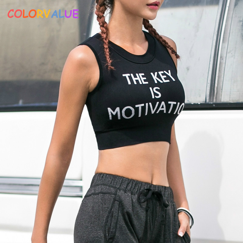 Colorvalue Letter Printed Fitness Bra Women High Impact Sport Bra Top Quick Dry Vest-Type Yoga Bra Padded Running Gym Sportswear colorvalue quick dry backless sport fitness top women o neck solid yoga workout tank top breathable running exercise gym vest