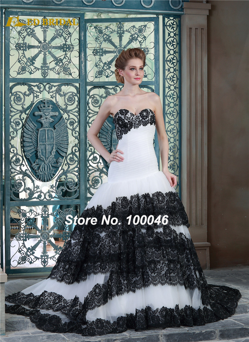 Gothic Wedding Shop - White and black wedding dress 2015 real photo gothic wedding dress china online shop tiered lace