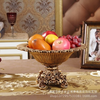luxurious fruit plate Hollow Carved Rose  home decoration accessories living room decoration European style resin fruit plate
