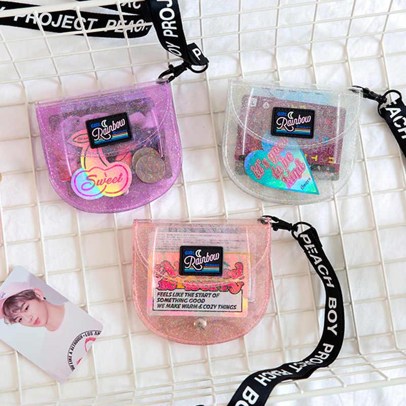 Bentoy Giltter PVC Lantejoula Shell Titular do Cartão de Crédito ID Carteira Mini Bolsa Foto Dobrável Pescoço Pendurado Sacos Para As Mulheres 2019