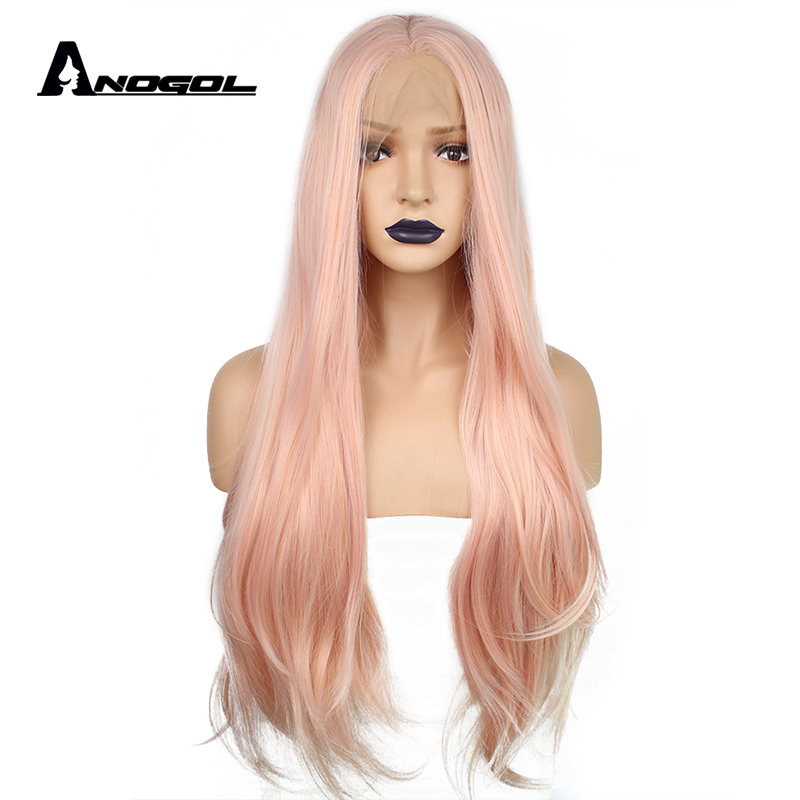 Anogol Natural Long Straight Pink Middle Part High Temperature Fiber Heat Resistant Synthetic Lace Front Wig For White Women