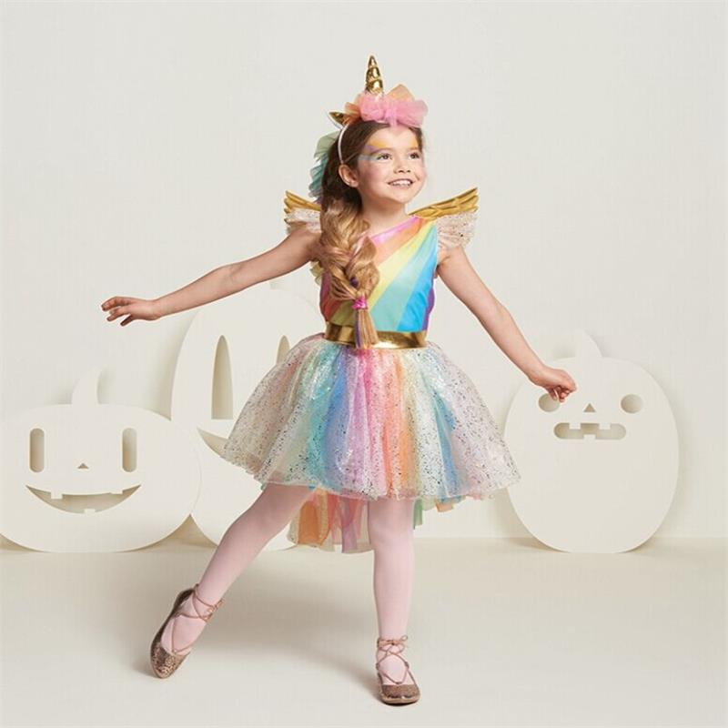 Fancy Dress for Girls Unicorn Party Dress up Rainbow Kids Dresses for Girls Princess Girl Halloween Carnival Costume Tutu Wear red baby girl dress princess christmas dresses for girl events party wear tutu kids carnival costume girls children clothing