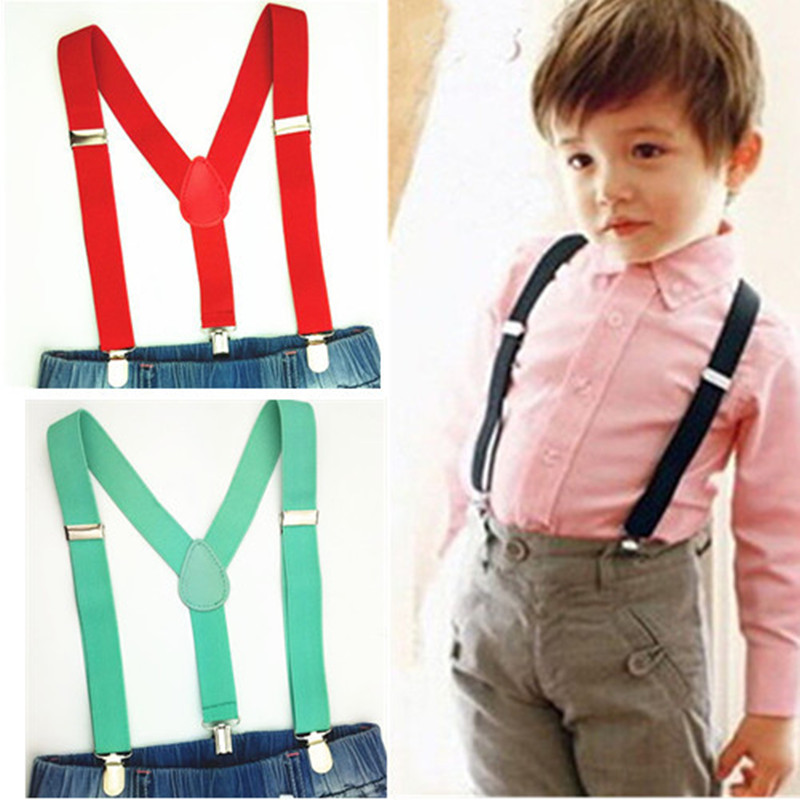 Elastic Baby Boys And Girls Suspenders Y Back Clips On Solid Color Kids Suspender Braces Children Clothes Accessories  BD001-S