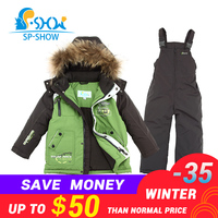 BUY 1 SUIT GET 1 FREE SCARF 30 degrees SP SHOW Winter 90% White down suit nature fur Boy and Girl Coats Kids Clothing Sets Ski