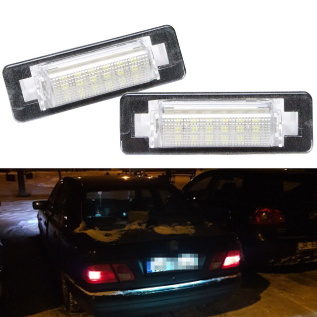 2pcs LED Number License Plate Lamps OBC Error Free 18 LED for Mercedes Benz W210 W202 E300 E55 C230 C43 AMG Canbus Car Styling direct fit for kia sportage 11 15 led number license plate light lamps 18 smd high quality canbus no error car lights lamp page 7