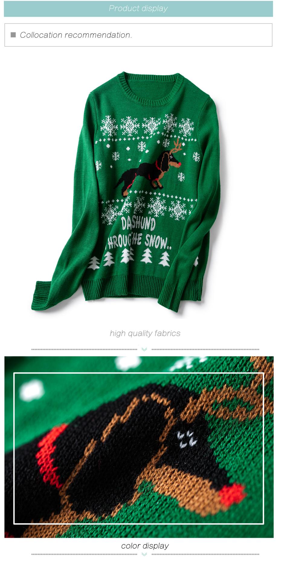 HTB1mLecnjuhSKJjSspaq6xFgFXa4 - Christmas Sweater Cute Dachshund Embroidery Snow Letter Women Pullovers Long Sleeve Knitting Outwear PTC 287