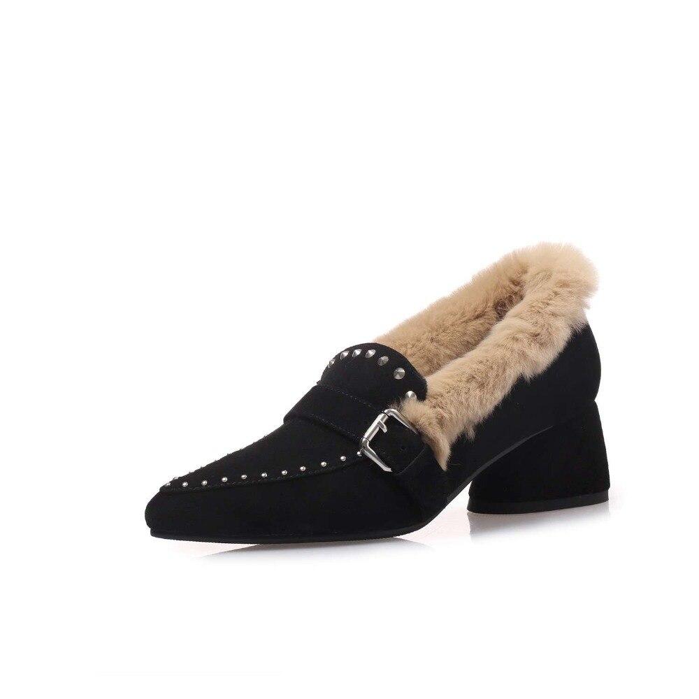 Krazing ポット子供スエード新到着オックスフォードポインテッドトゥメタルバックルソフト毛皮リベット装飾 med かかとッドヒールスリップオンコンサイス l00 パンプス  グループ上の 靴 からの レディースパンプス の中 3
