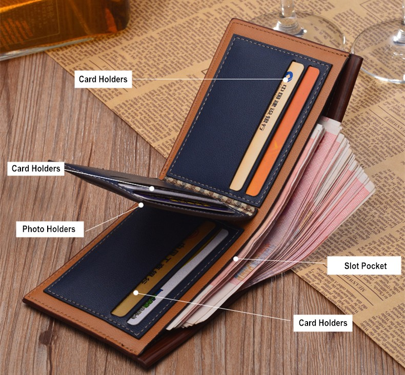 Men's Short Paragraph Wallet Business Casual Leather PU Wallet men wallet multi-functional blue one size 13