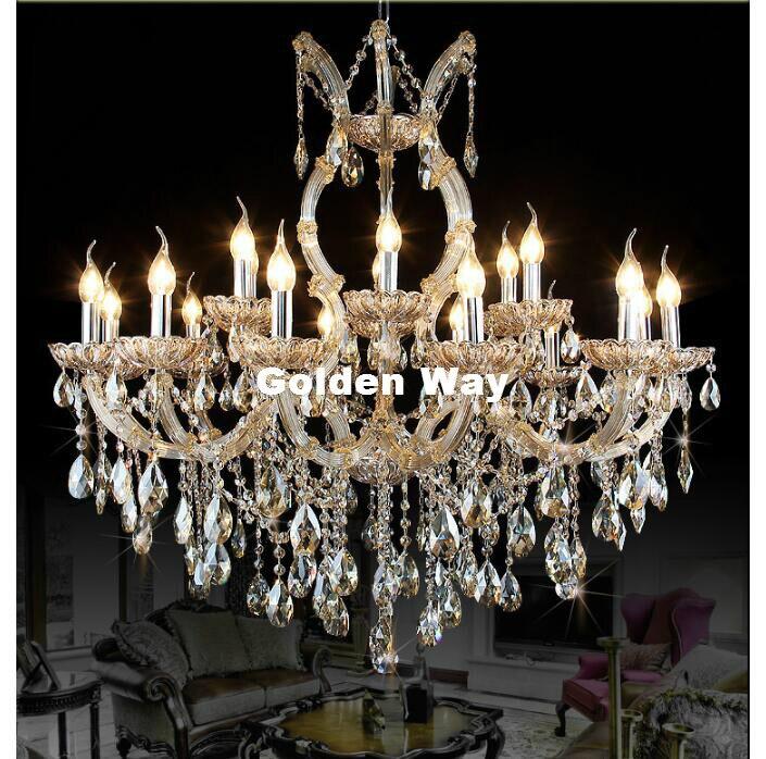 Современные коньяк хрустальная люстра лампа Блеск d100cm cristal подвеской светильник E14 18l светодиодный AC свечи лампы 100% подлинные часы