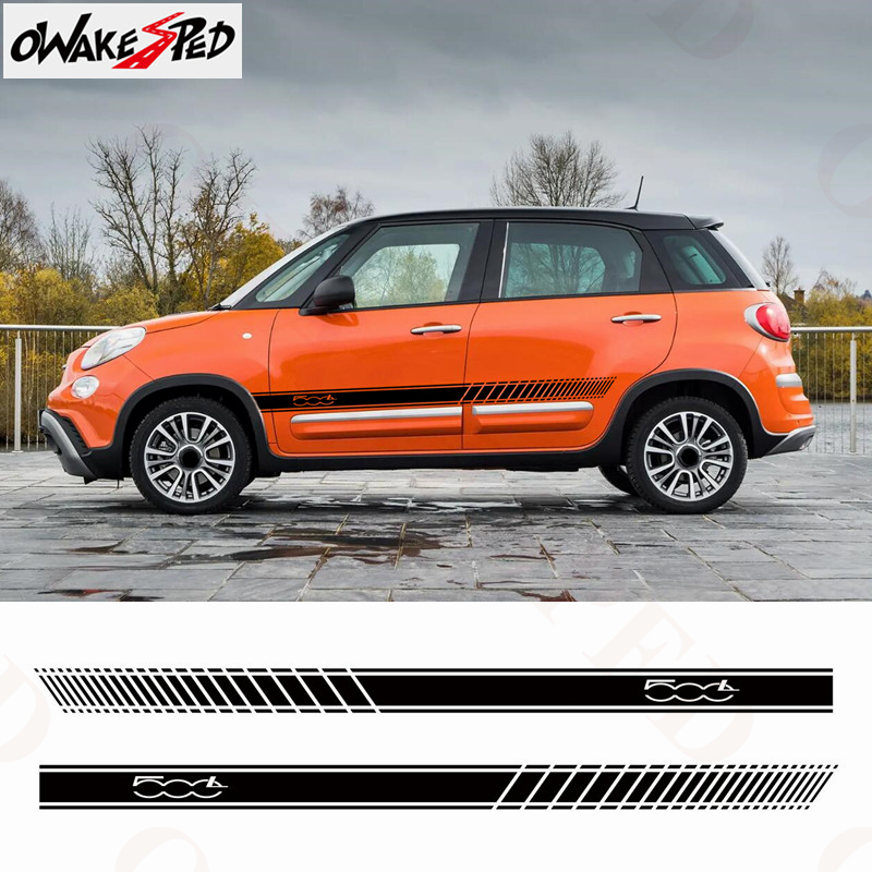 Racing Lattices Stripes Car Door Vinyl Decals For Fiat 500L Auto Body Both Side Decor Stickers Sport Styling Waterproof Decal