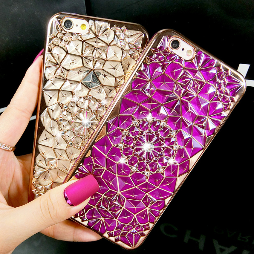 New Luxury 3D Electroplating Flowers Rhinestone Bling Soft TPU Phone Case Cover For iPhone X 8