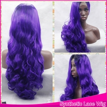 Top High Quality Wholesale Wave Dark Root T Purple Ombre Hair Wig Synthetic Lace Front Wavy Wig For Women Cosplay Front Lace Wig