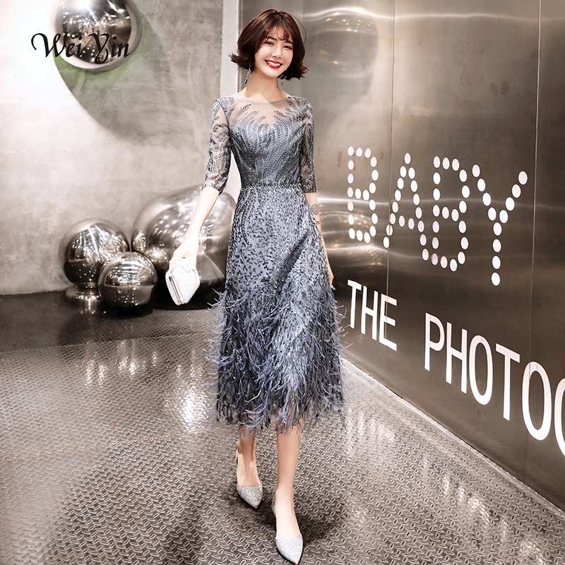 Wei Yin New Style Tea-length Gray Evening Dresses 2019 Feathers Formal Prom Gowns A-Line Fashion Black Evening Gown WY1674