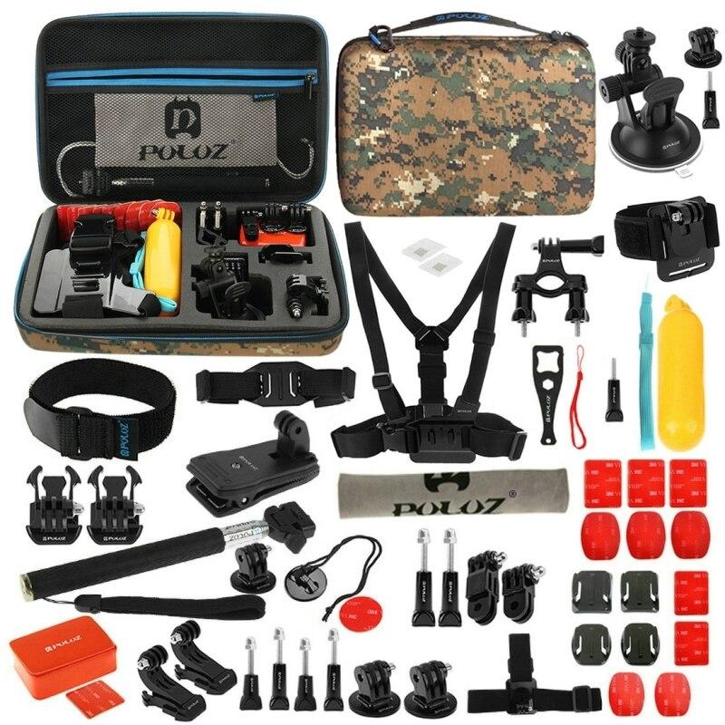ФОТО 53 in 1 Gopro accessories set go pro kit mount for SJ4000 gopro hero5 4 Chest Head Belt SJCAM SJ5000 camera case xiaoyi tripod