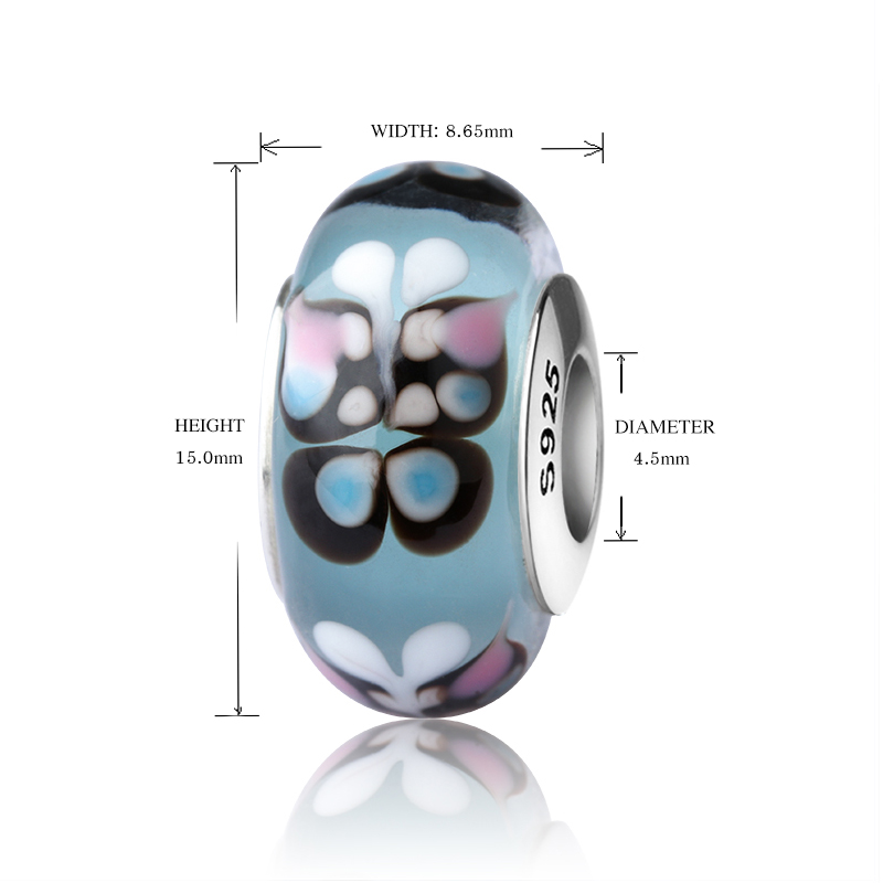 SG silver 925 sparkling Murano glass beads butterfly charms suitable for authentic pandora bracelets jewelry making women gifts in Beads from Jewelry Accessories